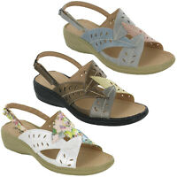Cushion-Walk Slingback Womens Sandals Wedge Flower Summer Lightweight UK 3-8