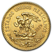 1919 Mexico Gold 20 Pesos AU - SKU #29095
