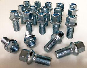 alloy wheel bolts nuts lugs M14 x 1.5 17mm Hex 27mm thread Radius seat Audi x 20