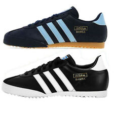 ADIDAS ORIGINALS BAMBA TRAINERS SNEAKERS BLUE & BLACK MENS UK SIZES 7 TO 11