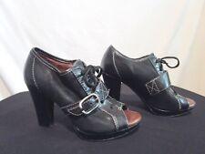 Anthropologie Naya Kasha Black Leather Buckle PeepToe Booties High Heel Shoes 5M