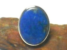 Blue Oval  Lapis Lazuli  Sterling  Silver 925  Gemstone  RING  -  Size: M