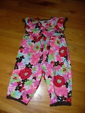 Hanna Andersson Girls Size 80 Red & Pink Floral Romper Sz 18 -24 months EXC