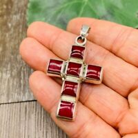 Red Jasper Cross 925 Solid Sterling Silver Pendant Jewelry From TAXCO Mexico!
