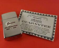 Vintage Slim Zippo Lighter Genair 1951-1991 Niagara Falls 1989 Chrome With Paper