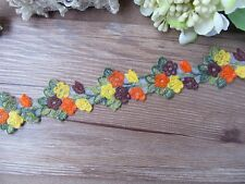 Very nice, colorful embroidery tulle  Lace Trim - price for 1 yard