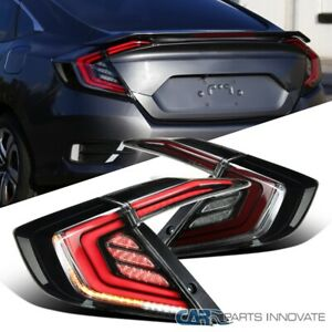 For 16-20 Honda Civic Smoke Glossy Black Tail Lights+LED DRL Sequential Signal