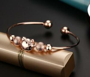 Women Rose Gold Hello Kitty Cat Open End Cuff Bangle Bracelet
