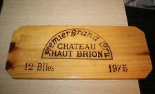 1 Rare Wine Wood Panel Chateau Haut Brion Vintage Crate Box Side 12 Blles 1975