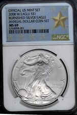 2008-W  burnished  SILVER EAGLE - NGC MS69  ANNUAL DOLLAR SET - WEST POINT LABEL