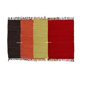 Rug 100% Cotton Hand woven 2x3 Feet Area Carpet Rug Braided Rag Rug Pack of 4