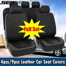 PU Leather Front & Rear Full Car Seat Covers Cushion Set For 2/5 Seats Luxury US