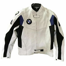 Handmade Men White Motorbike BMW Leather Jacket