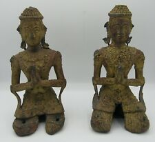 "Pair antique metal Thai Teppanom kneeling statues 7.5"" ornate gold/red"