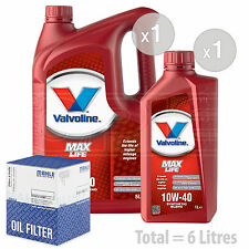 Engine Oil and Filter Service Kit 6 LITRES Valvoline MaxLife 10w-40 6L