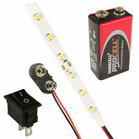 LED Strip Lights Lamps Kit Switch + PP3 + Battery All Colours & Lengths Prewired