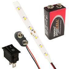 Tiras de Luz Led Lámparas Kit Interruptor + PP3 + Batería Todos los Colores &