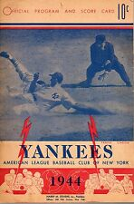 1944 (8/17) Baseball Program, Cleveland Indians @ New York Yankees, scored~ Fair