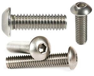 Button Head Screws Allen Socket Bolts A2 Stainless Steel Screws - M3 M4 M5 M6 M8
