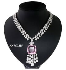 Cubic Zirconia Swarovski Designers Baby Pink Pendant Only Necklace NK MX 285