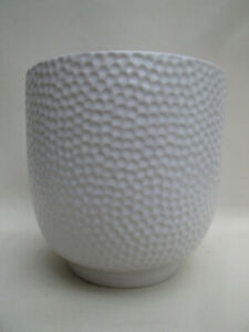 Lovely White Ceramic Plant Pot Dimple Design