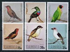 Zambia 1977 MNH Birds 6v Set Sunbirds Lovebirds Finches Barbet Stamps
