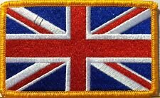 BRITISH Flag Embroidered Patch Union Jack England UK Great Britain Iron-On Gold