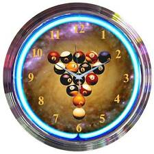 Billiard Spaceballs Neon Clock 8SPBAL Pool Balls w/FREE Shipping