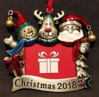 Christmas Tree Ornament Photo Picture Frame Santa Snowman Reindeer Friends 2018