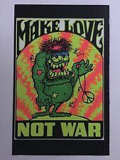 Make Love Not War Blacklight Poster Pin-up Print Riding Easy Biker Double Sided