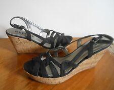NEW Black Wedge Sandals REPORT Konrad Size 10