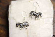 Zebra Earrings striped African Safari 925 sterling silver hooks pewter charms