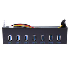 USB 3.0 7 Ports 5.25 inch Metal Front Panel USB Hub with 15 Pin SATA Power Cable