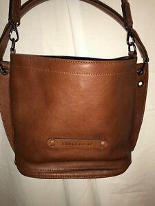 "Longchamp 3D Hobo/Crossbody Bag Brown Calfskin Leather 9.75""W x 10""H x 4""D"