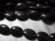 Black Magnesite Beads Oval 17pcs
