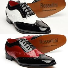 Mens spectator Two Tone, Black Red, Brogue, gangster shoe, oxford style(Borsalin