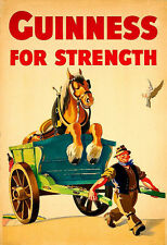 Alcohol Guinness for Strength Horse and Cart  Drink Pub Bar Deco  Poster Print