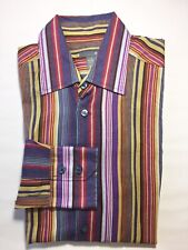 H&M Men's Long Sleeve Dress Shirt Yellow Purple Stripe Cotton Medium 15 3/4