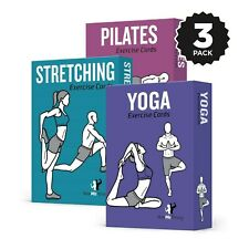 NewMe Fitness Exercise Cards 3 Pack :: Yoga, Stretching, Pilates :: 50 Streng...