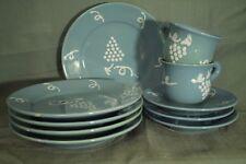 vintage HB Quimper France pottery salad plates teacups saucers blue white grape