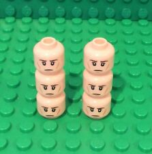 Lego X6 New Light Flesh Dual Sided Head,brown Eyebrows,wrinkles,Clenched Teeth