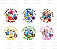30 Paw Patrol Super Pups Birthday Stickers Lollipop Labels Party Favors 1.5 inch