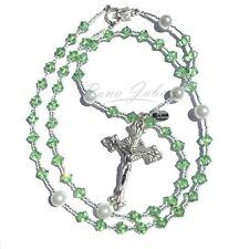 Peridot AUGUST Birthstone Catholic Prayer Rosary Beads w/Crystals from Swarovski