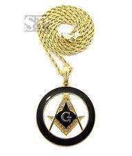"Black Round Masonic Compass Gold PT Freemason Pendant w/ 24"" Rope Chain Necklace"