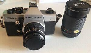 Vintage Praktica MTL 5B 35mm SLR Film Camera With 2 Lenses