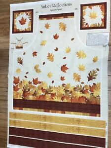 Fall Harvest Leaves Amber Reflections Cotton Apron Fabric Panel craft sew