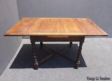 Vintage Spanish Style Carved Wood Barley Twist Draw Leaf Dining TABLE