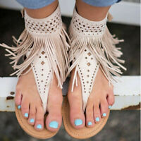 Casual Womens Summer Bohemia Slippers Flip Flops Flat Sandals Tassel Thong Shoes