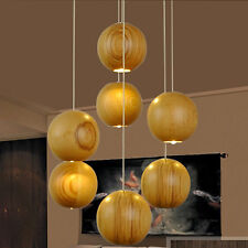 1 Single Head Nature Solid Wood Ball Ceiling Pendant Lamp Hanging Light Fixture