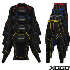 New Mens Compression Armour Base layer Top Skin Fit Shirt + Leggings set